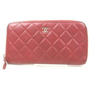 Auth Chanel Zippy Wallet Red Leather #N78524H33